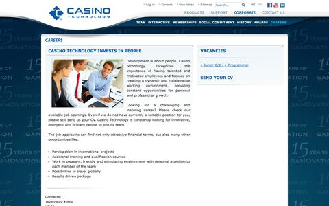 Screenshot of Jobs Page casino-technology.com - Casino Technology Careers - captured Nov. 2, 2014