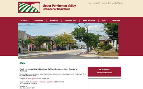 Screenshot of Signup Page upvchamber.org - Join - Upper Perkiomen Valley Chamber of Commerce   East Greenville, PA - captured Dec. 1, 2016