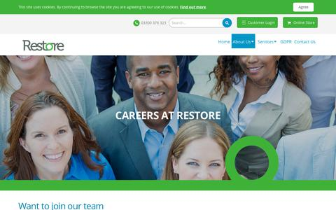 Screenshot of Jobs Page restore.co.uk - Restore > About Us > Careers at Restore - captured Dec. 13, 2018