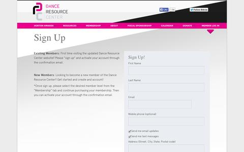 Screenshot of Signup Page danceresourcecenter.org - SIGN UP - captured Nov. 3, 2014