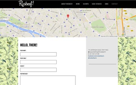 Screenshot of Contact Page rosbeef.fr - HELLO, THERE! - captured Sept. 30, 2014