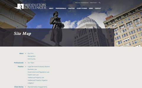 Screenshot of Site Map Page middletonlaw.com - Sitemap: Middleton-Reutlinger - captured Nov. 28, 2016