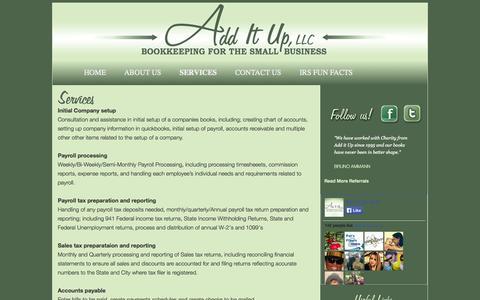 Screenshot of Services Page additupllc.com - Services | Add It Up, LLC - captured Sept. 30, 2014