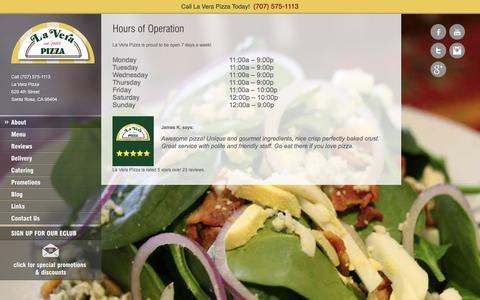 Screenshot of Hours Page laverapizza.com - Hours of Operation - La Vera Pizza - captured Dec. 6, 2015