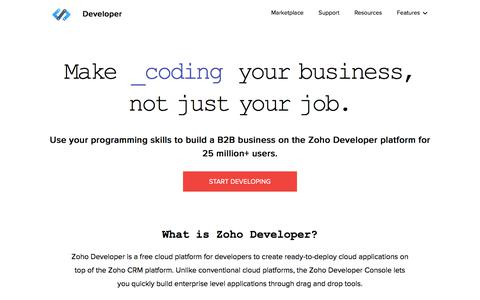 Screenshot of Developers Page zoho.com - Zoho Developer | Create apps on the Zoho CRM platform - captured Aug. 18, 2017