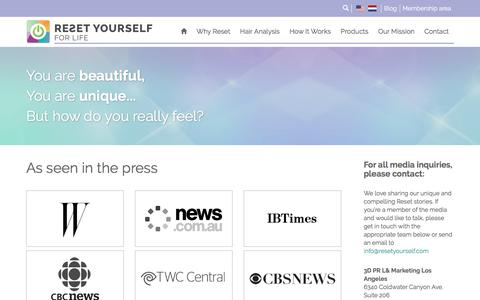 Screenshot of Press Page resetyourself.com - Reset Yourself Press & Buzz We have the tools and expertise to Transform your health! - captured June 14, 2017