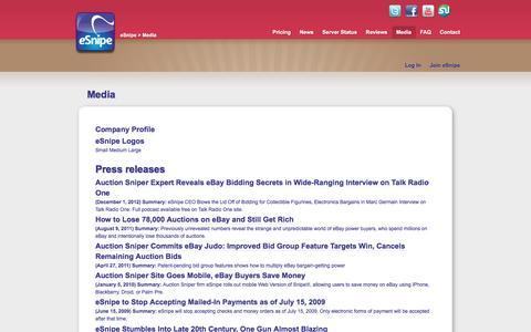 Screenshot of Press Page esnipe.com - eSnipe Media - captured May 23, 2017
