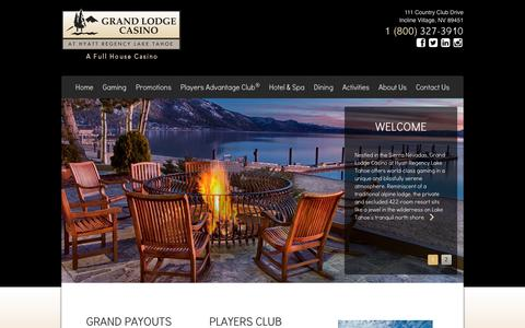 Screenshot of Home Page grandlodgecasino.com - Grand Lodge Casino at Hyatt Regency Lake Tahoe Grand Lodge Casino at Hyatt Regency Lake Tahoe - captured Sept. 30, 2014