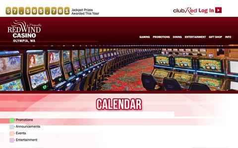 Screenshot of redwindcasino.com - Calendar | Nisqually Red Wind Casino - captured March 19, 2016