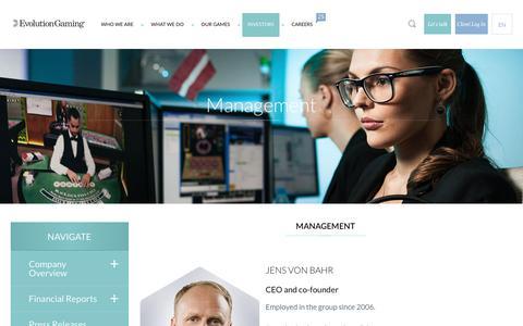 Screenshot of Team Page evolutiongaming.com - Management | Evolution Gaming - captured Dec. 12, 2015