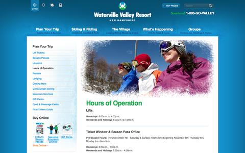 Screenshot of Hours Page waterville.com - Hours of Operation | Waterville Valley Resort Summer Family Vacations |  New Hampshire - captured Nov. 5, 2014