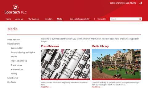 Screenshot of Press Page sportechplc.com - Media - captured Dec. 1, 2016
