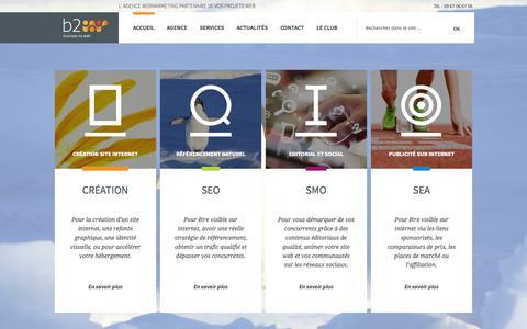 Screenshot of Home Page b2w.fr - Business to web : votre agence webmarketing à Nantes - captured Sept. 24, 2014