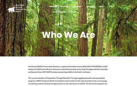 Screenshot of About Page northwestwildlife.com - Who We Are – Northwest Wildlife Preservation Society - captured Oct. 18, 2018