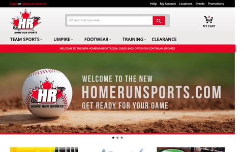 Screenshot of Home Page homerunsports.com - Homepage - captured March 4, 2016