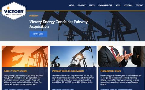 Screenshot of Home Page vyey.com - Victory Energy Corporation (VYEY) - captured Oct. 7, 2014