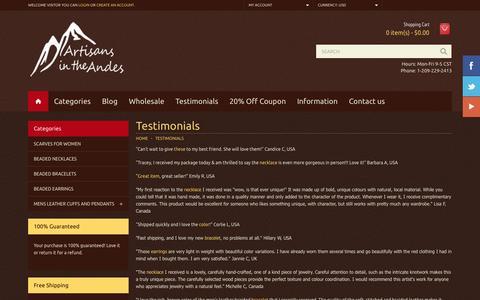 Screenshot of Testimonials Page artisansintheandes.com - Testimonials - captured Dec. 26, 2015