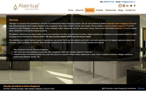 Screenshot of Services Page alacritys.in - Architectural & Interior designing services Provider : Alacritys - captured Dec. 24, 2015