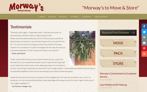 Screenshot of Testimonials Page morwaysmoving.com - Testimonials - Morway's Moving and Storage - captured Nov. 6, 2017