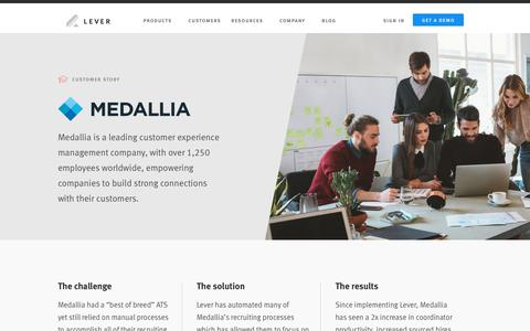 Screenshot of Case Studies Page lever.co - Medallia's Story - captured May 20, 2019