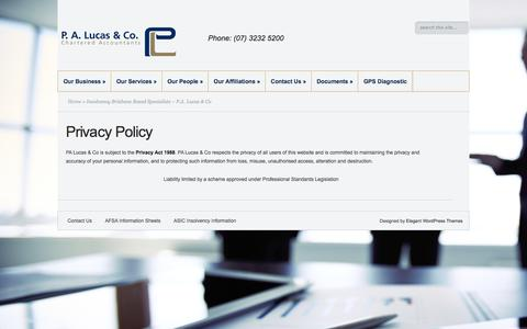 Screenshot of Privacy Page palco.com.au - Insolvency Brisbane Based Specialists – P.A. Lucas & Co - captured Sept. 25, 2018