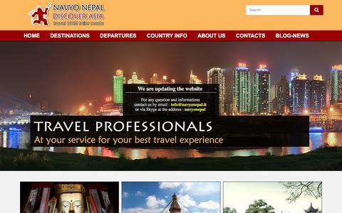 Screenshot of Home Page navyonepal.com - Navyo Nepal Discover Asia - captured Feb. 17, 2016