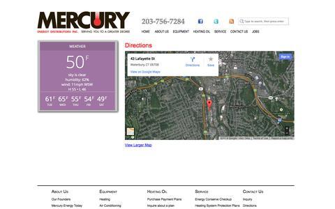Screenshot of Maps & Directions Page mymercuryenergy.com - Directions | Mercury Energy - captured Oct. 27, 2014