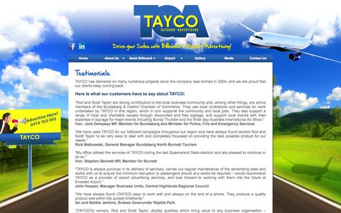Screenshot of Testimonials Page taycooutdoor.com.au - Testimonials | Tayco. Outdoor Advertising - captured Oct. 7, 2014