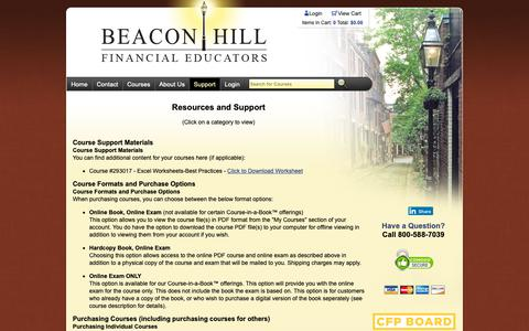 Screenshot of Support Page bhfe.com - Resources and Support - captured Dec. 18, 2018