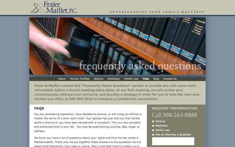 Screenshot of FAQ Page northborolaw.com - Divorce, Mediation & Family Law Attorneys   Northboro - captured Oct. 6, 2014