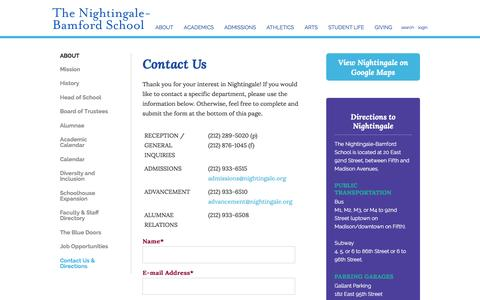 Screenshot of Maps & Directions Page nightingale.org - The Nightingale-Bamford School: Contact Us & Directions - captured Dec. 22, 2016