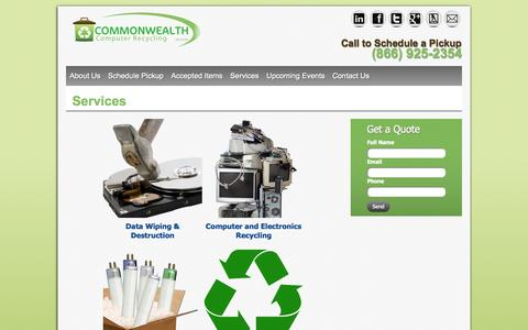 Screenshot of Services Page ccrcyber.com - Electronics Recycling, Data Destruction and Cash for Computers - captured Oct. 8, 2014
