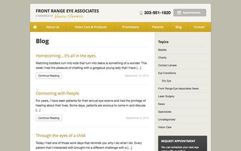 Screenshot of Blog visionsource-frea.com - Front Range Eye Associates Blog - Eye Care Info and Company News - captured Oct. 6, 2014