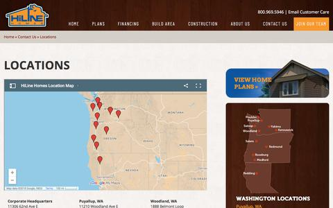 Screenshot of Locations Page hilinehomes.com - Custom Home Builder Locations | Washington, Oregon & California | HiLine Homes - captured July 19, 2018