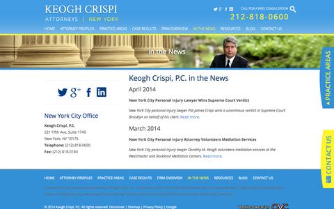 Screenshot of Press Page keoghcrispi.com - Keogh Crispi, P.C. Law Firm News | New York City Personal Injury Attorneys - captured Oct. 6, 2014