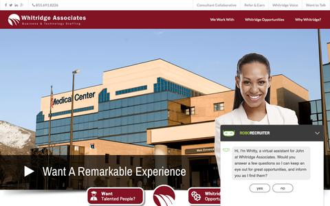 Screenshot of Home Page Privacy Page whitridge.com - IT Recruiting Boston | IT Staffing Boston | Technology Staffing | Boston - captured Oct. 20, 2018