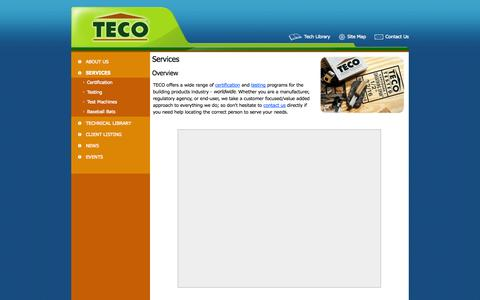 Screenshot of Services Page tecotested.com - TECO - Services - captured Oct. 7, 2014