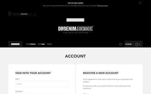 Screenshot of Login Page drdenimjeans.com - Create New Customer Account - captured June 5, 2017