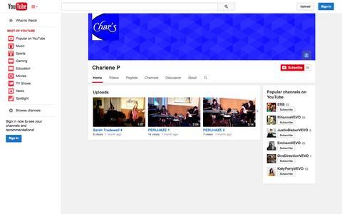 Screenshot of YouTube Page youtube.com - Charlene P  - YouTube - captured Oct. 22, 2014