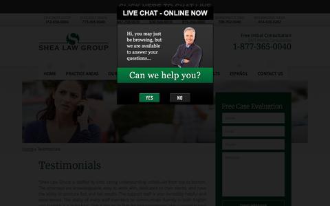 Screenshot of Testimonials Page shealawgroup.com - Client Testimonials – Shea Law Group - captured Aug. 18, 2016