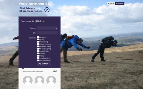 Screenshot of Home Page youroutdoorpal.com - Your Outdoor Pal   Find friends.  Share experiences. - captured Sept. 30, 2014