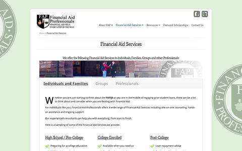 Screenshot of Services Page financialaidpros.com - Financial Aid Services - Financial Aid Professionals - captured Oct. 10, 2018