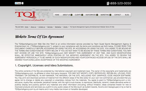 Screenshot of Terms Page tqisportsagency.com - TQI Sports Management Agency & Entertainment Website Terms Of USe - captured Oct. 6, 2014