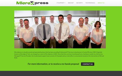 Screenshot of About Page microx.biz - MicroXpress - Outsourced IT Solutions for Central PA Businesses - captured Feb. 13, 2016