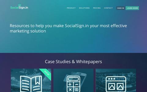 Screenshot of Case Studies Page socialsign.in - Resources • SocialSign.in - captured Nov. 18, 2015