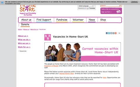 Screenshot of Jobs Page home-start.org.uk - Vacancies | Home-Start UK | Family support charity - captured Oct. 2, 2014