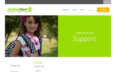 Screenshot of FAQ Page Support Page amberalertgps.com - Support | Amber Alert GPS - captured Sept. 19, 2014