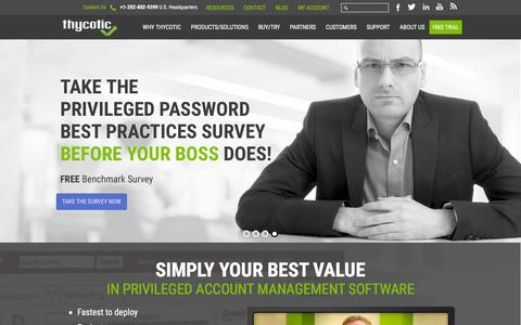 Screenshot of Home Page thycotic.com - Privileged Account Management Software | Active Directory - captured Feb. 8, 2016