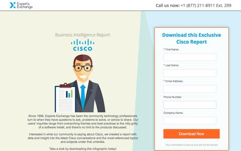 Screenshot of Landing Page experts-exchange.com - Business Intelligence Report: Cisco - captured March 3, 2018