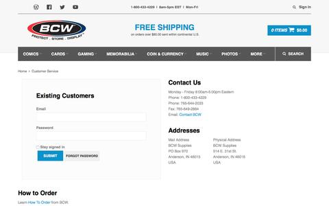 Screenshot of Support Page bcwsupplies.com - BCW Supplies - captured July 27, 2016